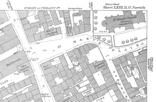 St Mary Coslany 1883 OS Map