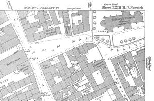 St Mary Coslany 1883 OS Map